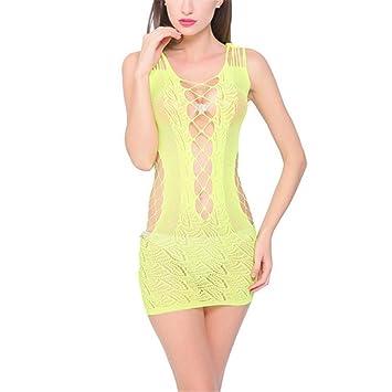 kimloog encaje mujer lencería Babydoll Vestido Para pijamas de ropa interior Mujer Vestido, Amarillo