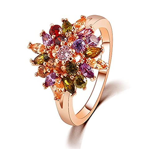 Winter's Secret 18K Rose Gold Plated Dazzling Color Zircon Accented Flower Lover Style Ring - Vespa Cable