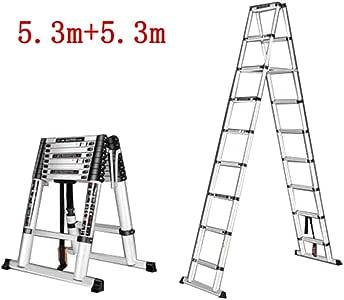 LXYFMS Escalera telescópica Escalera multifunción para Uso doméstico Escalera Plegable para Interiores Escalera de Doble Cara Ingeniería de aleación de Aluminio Taburete (Size : 5.3m+5.3m): Amazon.es: Hogar