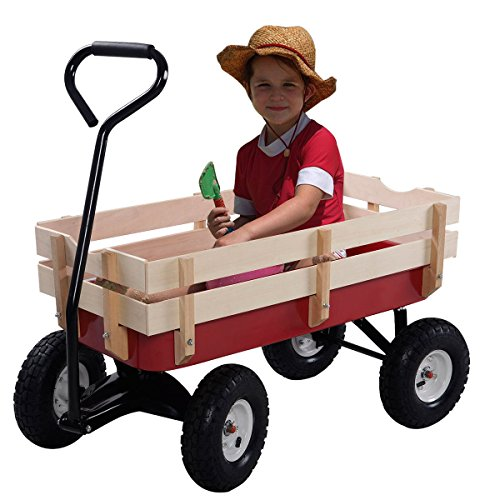 Giantex All Terrain Cargo Wagon Wood Railing Kids Children Garden Air Tires Outdoor Red