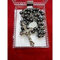 Catholic Jerusalem Hemitate Stone Beads Rosary Long Beaded Necklace Jesus Crucifix Holy Land
