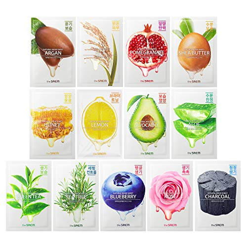 [the SAEM] Natural Facial Mask Sheet 21ml Combo Set (13 Pack) - Korean Daily Skin Care Variety Pack, Moisturizing, Brightening, Soothing, Firming Care (Absolute Care Minerals Plus Soothing Face Serum)