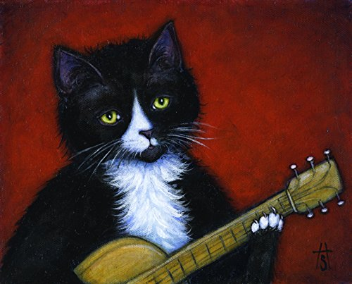(8 x 10 print of a Tuxedo Cat playing a Guitar. Acoustic Cat)