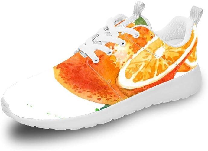 Mesllings Unisex Zapatillas de Running Acuarela Naranja Ligero ...