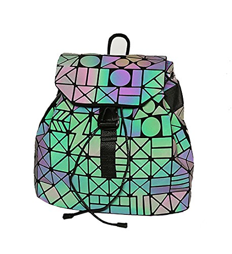 Rainbow Girl Teenager Magibag Pack Geometric Luminous2 Rucksack Lattice School Backpack Iridescent Bag qZgUw4xZI