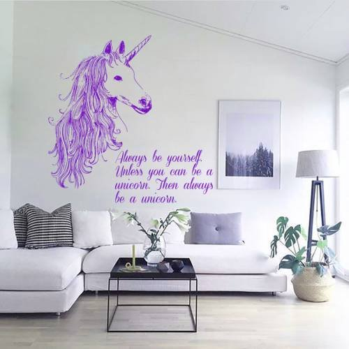 Wall Decals Always be Yourself Quotes Animals Unicorn Horse Horn Mane Decal Vinyl Sticker Home Decor Room Bedroom Living Room Study Murals ML34 by Decal House
