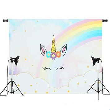 Generic 5 X 3 Ft 7 X 5 Ft Rainbow Clouds Sky Unicorn