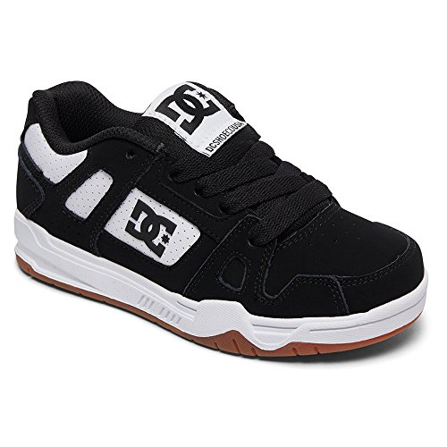 DC Boys' STAG Skate Shoe, Black/White/Gum, 13.5 M US Little Kid