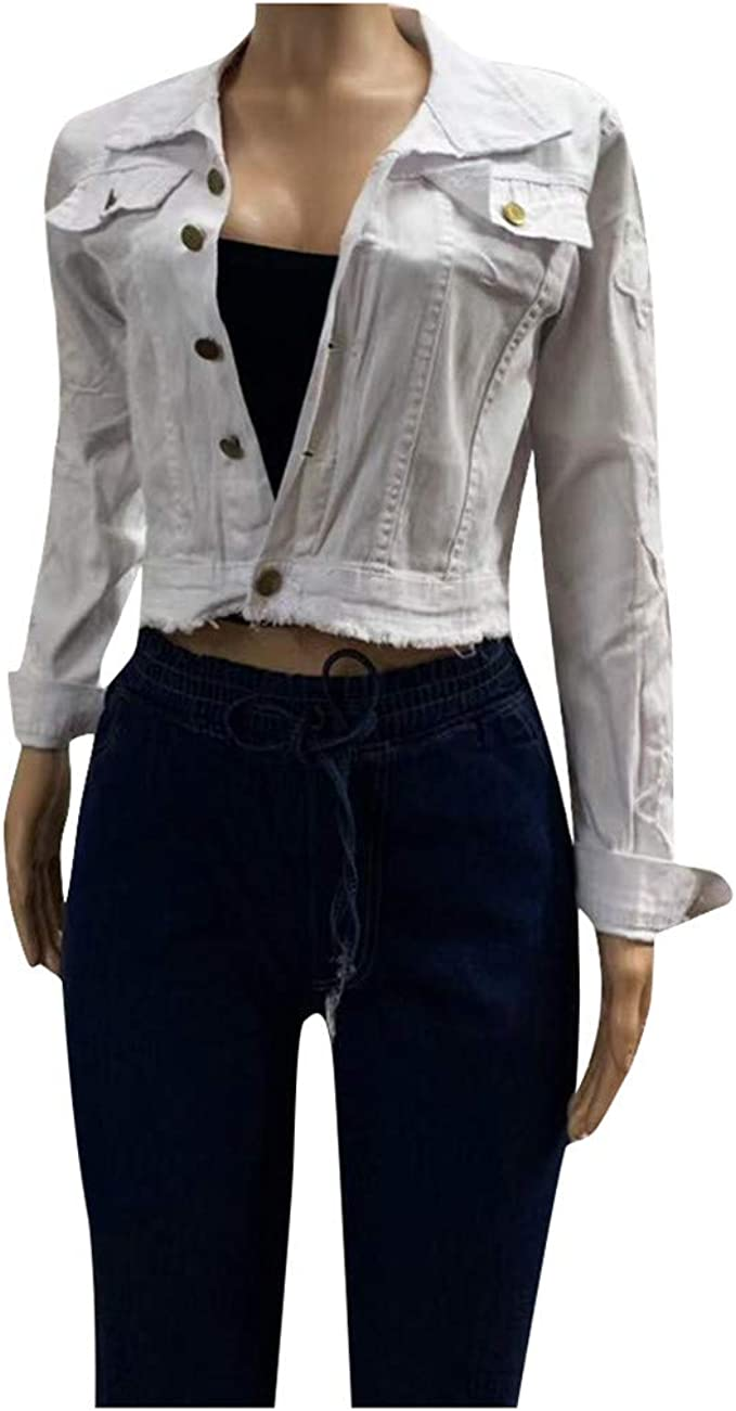 SUMTTER Giacca Jeans Oversize Donna Strappata Jacket Ragazza Jeans Corta Giubbino Denim Slim Fit Capispalla Cappotto Autunno