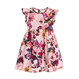 Clearance Sale!OverDose Toddler Kids Baby Girls Floral Sleeveless Princess Formal Party Dress(4T, Pink)