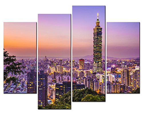 SmartWallArt - City Landscape Paintings Wall Art Taipei 101 Building Taiwan in the Dusk 4 Panel Picture Print on Canvas for Modern Home -