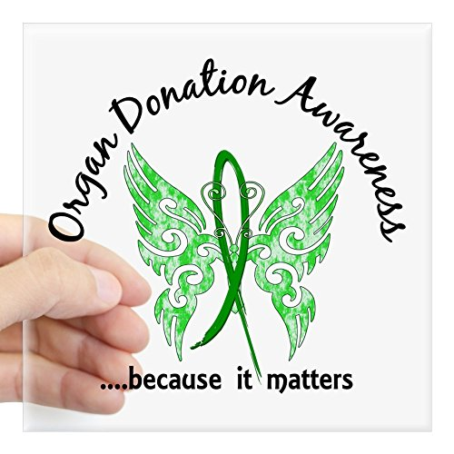 CafePress Organ Donation Butterfly 6. Square Sticker 3 X 3 Square Bumper Sticker Car Decal, 3