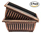 2 Pack Combo Rustic Metal Look Plastic Rectangle Planter with Mesh designed for better drainage for use in Garden Patio Office Ornaments Home Decor Long Lasting Reusable Lightweight(14 Inches, Copper)