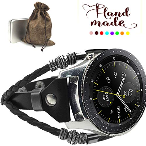 Marval.P Compatible [Samsung Galaxy Watch 46mm] Bands, 22mm Universal Samsung Gear S3 Bands, Handmade Leather Replacement Bracelet Strap, Wristbands Adjustable Band ZenWatch 2 1.64 Fossil Q