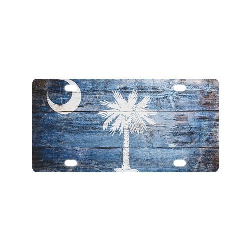 New Arrival! Novelty Tag Vintage South Carolina State Flag Wood Pattern Durable Aluminum Car License Plate 12
