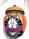 ceramic cat food container - Candace Reiter Catzilla Ceramic Cat and Fish Cookie Food canister Container