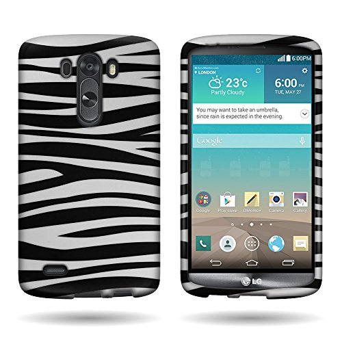 Zebra Rubberized Snap (LG G3 Case, Snap On Cover [CoverON Snap Fit Series] Slim Shell Style with Enhanced Rubberized Matte Grip [Hard Thin Plastic Shield] Phone Cover Case for LG G3 - Zebra Stripes, Animal Print Design …)
