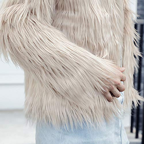 Women's Imitation Turf Jacket High Solid Casual Cardigan Beige Coat vpass Overcoat Color Parka Grade Jumper Winter HCqBw1g