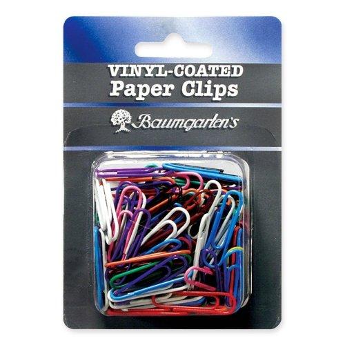 Wholesale CASE of 25 - Baumgartens Skid Resistant Vinyl Coated Ppr Clips-Paper Clips, Standard, Vinyl, 1-3/8'', 100/PK, Assorted by Baumgartens