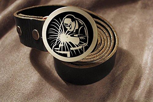 WELDER Metal Fabricator BLACKSMITH Etched Metal Belt Buckle