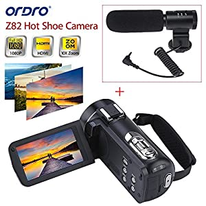 "ORDRO HDV-Z82 10X Optical Full HD Camcorder Hot Shoe Camera 24MP HDMI 3.0"" TFT LCD with External Microphone"