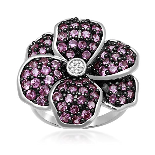 Jewelili Sterling Silver Created Pink Sapphire And Accent Diamond Flower Ring, Size 7 (Seven Diamond Flower Ring)