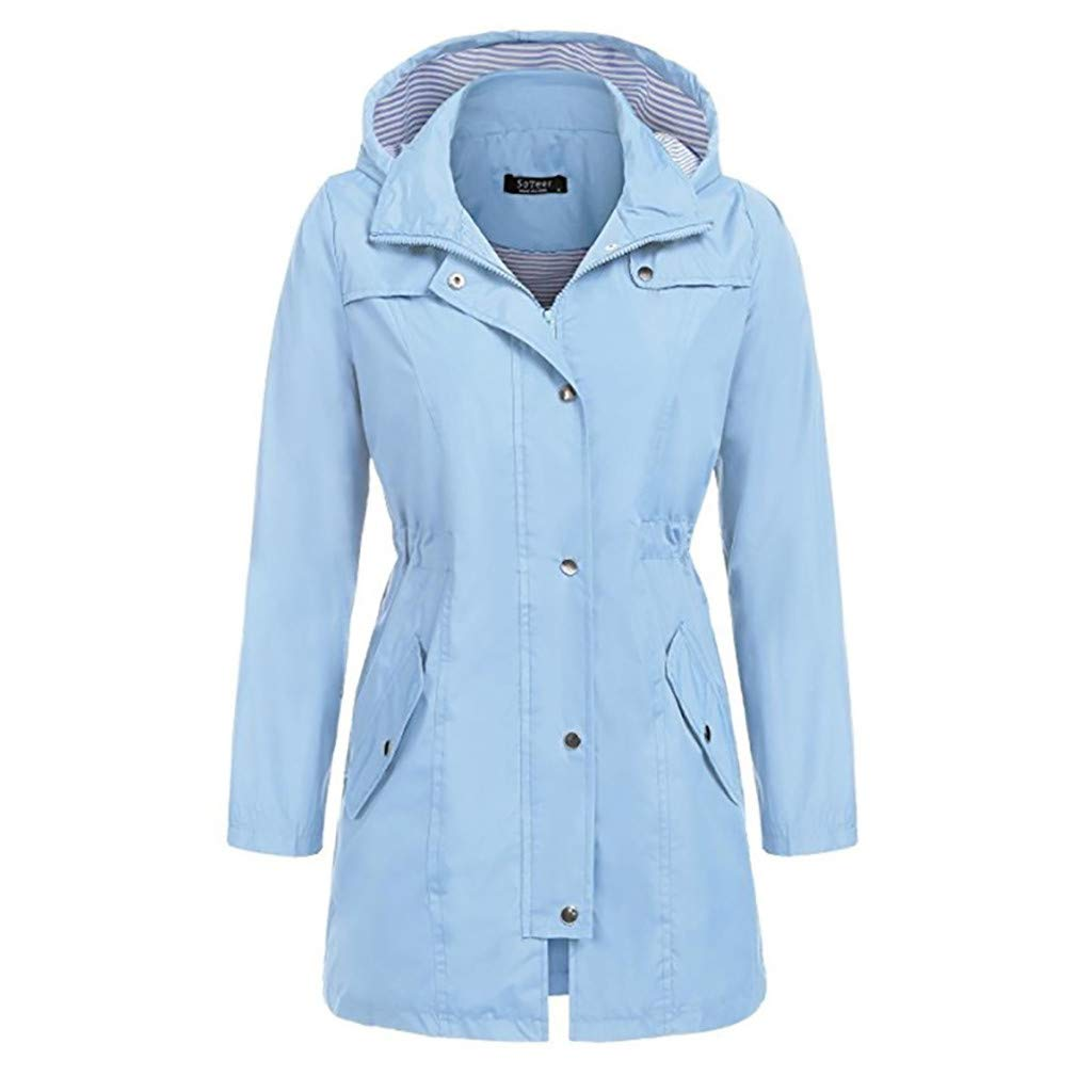 Shusuen Raincoat Women Waterproof Long Hooded Trench Coats Lined Windbreaker Travel Jacket Sky Blue by Shusuen_Clothes