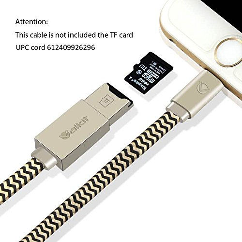 Memory Card Reader, Apple lightning cable, Valkit 2in1 lightning USB cord cable adapter for iPhone 5 / 6 iPad mini air pro with external storage micro SD card reader (not included SD card)