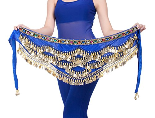 DQdq Women's Beaded Gold Coin Belly Dance Hip Wrap Scarf Blue (Pink Genie Costume)