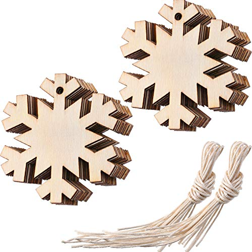(Jetec Wooden Snowflake Unfinished Wood Ornaments Cutouts for Christmas Decoration Christmas Tree Hanging Decoration and Craft DIY, Pack of 20)