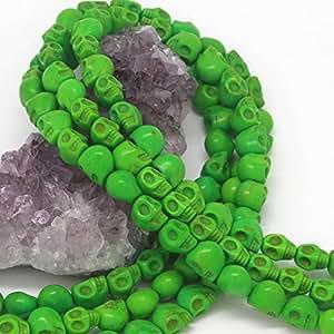 Beautiful Bead 16pulgadas Strand Perlas de calavera Strand, sintético, de color verde, 14x 18mm