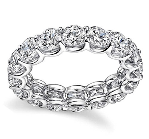 950 Platinum 3.4ct Round Diamond SI1,SI2 G-H 3.5mm Eternity Band 4.43gr Ring Size 5 -  Zhannel, 536-14W-P-35-5