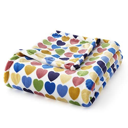 (AVAFORT Velvet Plush Home Fleece Throw Blanket (Purple Pink Dots, 60