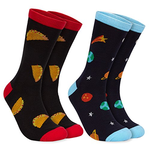2-Pair Mens Novelty Socks – Funny Socks with Printed Tacos, and Outer Space Graphics, Fits Shoe Size US 7-11
