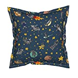 Space Cat Velvet Throw Pillow Cover - Cats Outer Space Rocket Solar System Stars by Amber Morgan - Flanged Cover w Optional Insert
