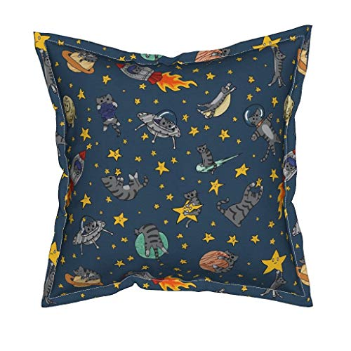 Space Cat Velvet Throw Pillow Cover - Cats Outer Space Rocket Solar System Stars by Amber Morgan - Flanged Cover w Optional Insert by Roostery