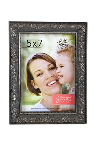 Green Tree Gallery Wood Scroll Patterned Photo Frame, Pewter, for a 5 x 7 inch Photo