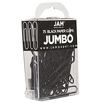 Amazon.com : JAM PAPER Colorful Jumbo Paper Clips - Large 2 Inch - Black Paperclips - 75/Pack : Office Products