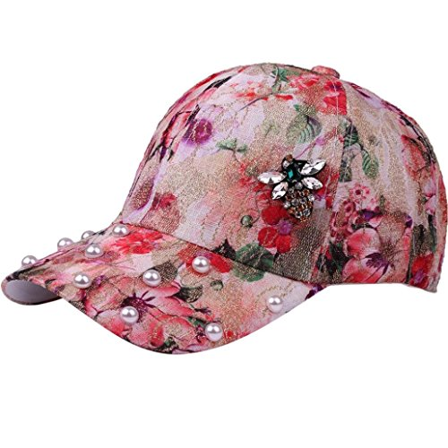 Caopixx Baseball Cap, Men Women Adjustable Flower Print Hat Rhinestone Bee Pearl Baseball Cap Sun Hats 2018 (One Size, Red)
