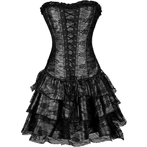 stay real Sexy Women Corset Bustier Plus Size Push up Gothic Corset Dress with Skirt (Black -