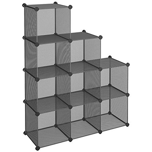 (SONGMICS 9-Cube Metal Mesh Storage Cube, Book Shelf, Modular Bookcase, DIY Closet Cabinet Organizer for Books, Plants, Toys, Shoes, Clothes 36.6 L x 12.2 W x 48.4 H Inches, Gray ULPL115G)