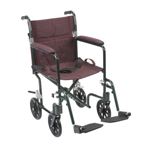 Drive Medical FW19BG Fly-Weight Transport Chair, 19 Inch, Burgundy Green (Deluxe Shower Transport Chair)