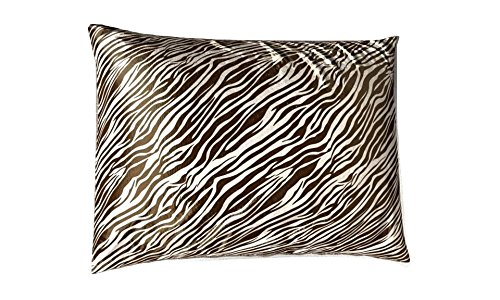 (Shop Bedding Luxury Satin Pillowcase for Hair – King Satin Pillowcase with Zipper, Brown Zebra Print (1 per Pack) – Blissford)