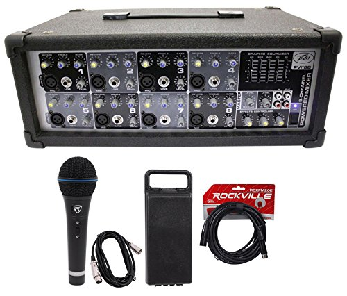 NEW Peavey PVi8B 150 Watt 8 Channel Powered Mixer Console+Microphone+XLR Cable by Peavey