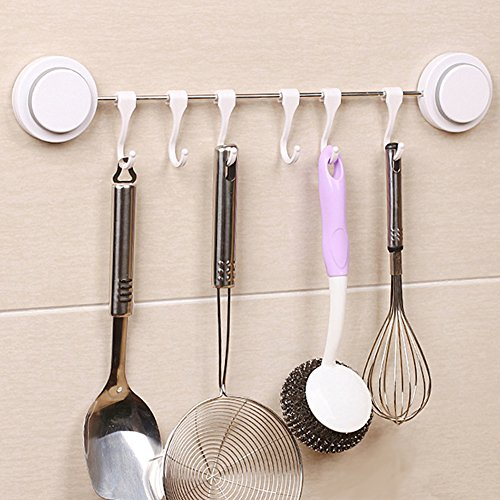 Hcapaii Kitchen Hanging Hooks Set Storage for Kitchenware Towels Bags Resuable Stainless Steel Easy Install Save Space Organizer Sucker Hooks,White with 6 Hooks by Hcapaii