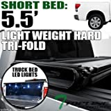 07 tundra tonneau cover - Topline Autopart Lightweight Hard Tri Fold Vinyl Tonneau Cover & Truck Bed LED Lighting System For 07-16 Toyota Tundra CrewMax ( Extended Crew ) Cab 5.5 Feet ( 66