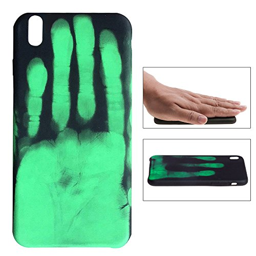 Creative Heat Sensitive Case iPhone X, fengus Magical Thermal Sensor Phone Cover Soft PC Back Case for Apple iPhone x with Temperature Thermal Induction Color Changing (Green Handprint)