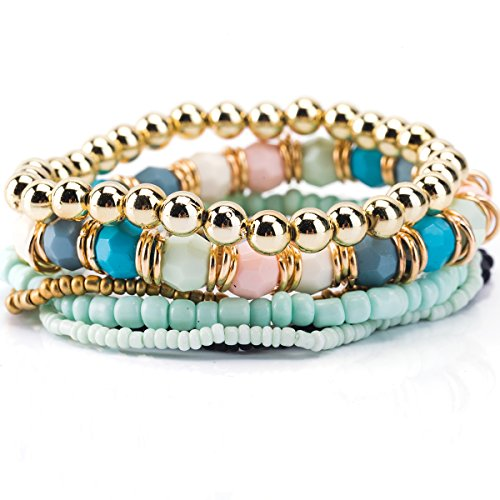 Trendy Jewels Boutique Stacked Seven Layer Gold Blue Beads Bracelet (Teal Beads Gold)