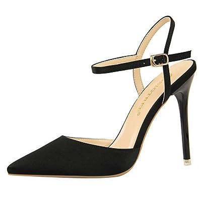8726cf2af19f5f Zanpa Damen Moda Stiletto Absatz Sandalen Spitze Schuhe Black Size 34