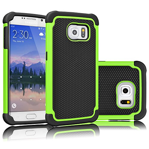 (Tekcoo for Galaxy S6 Case, [Tmajor Series] [Green/Black] Shock Absorbing Hybrid Rubber Plastic Impact Defender Rugged Slim Hard Case Cover Shell for Samsung Galaxy S6 S VI G9200 GS6 All Carriers)